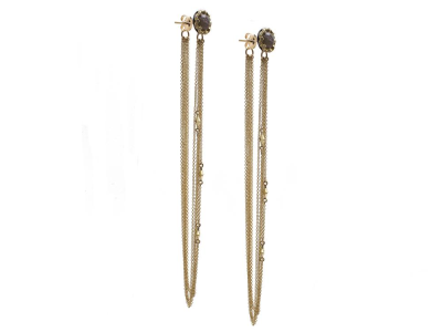 Collection: Old World Style #: 13827 Description: Old World blackened sterling silver/18k yellow gold scalloped 7mm round Aquaprase cabochon crivelli chain chandelier earring with white diamonds. Diamond weight - 0.19 ct.Metal: .925 Sterling Silver/18k Yellow Gold