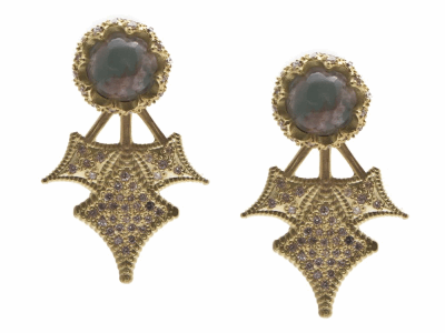 Collection: Old World Style #: 13826 Description: Old World blackened sterling silver/18k yellow gold 7mm round crivelli burst earring stud and jacket with Aquaprase cabochon and white diamonds. Diamond weight - 0.52 ct.Metal: .925 Sterling Silver/18k Yellow Gold