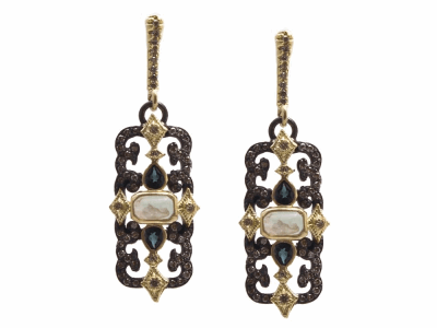 Collection: Old World Style #: 13850 Description: Old World blackened sterling silver/18k yellow gold scrolled rectangle drop earring with Aquaprase cabochons, champagne diamonds and blue-green tourmaline. Diamond weight - 0.55 ct.Metal: .925 Sterling Silver/18k Yellow Gold