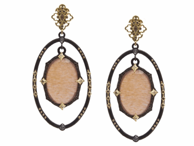 Collection: Old World Style #: 13851 Description: Old World blackened sterling silver/18k yellow gold open oval crivelli earring with hanging center Golden Sunstone/Light Brown Pink Gel/White Quartz triplets with champagne diamonds and white sapphires. Diamond weight - 0.66 ct.Metal: .925 Sterling Silver/18k Yellow Gold