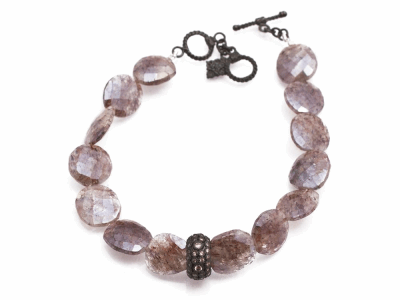 "Collection: Old World Style #: 13849 Description: Old World midnight 7""-7.5"" Rose Silverite beaded pull bracelet with champagne diamonds. Diamond weight - 0.5 ct.Metal: .925 Sterling Silver/18k Yellow Gold"