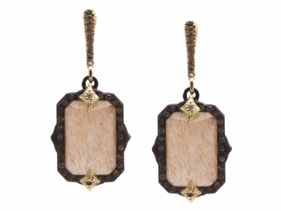 Collection: Old World Style #: 13857 Description: Old World blackened sterling silver/18k yellow gold 13x9mm emerald-cut crivelli drop earring with Golden Sunstone/Light Brown Pink Gel/White Quartz triplets and champagne diamonds. Diamond weight - 0.43 ct.Metal: .925 Sterling Silver/18k Yellow Gold