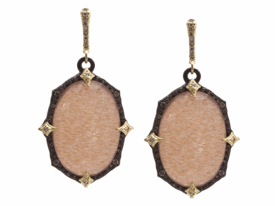 Collection: Old WorldStyle #: 13856Description: Old World blackened sterling silver/18k yellow gold 23.5x16.5mm oval crivelli earring with Golden Sunstone/Light Brown Pink Gel/White Quartz triplets and white and champagne diamonds. Diamond weight - 0.55 ct.Metal: .925 Sterling Silver/18k Yellow Gold