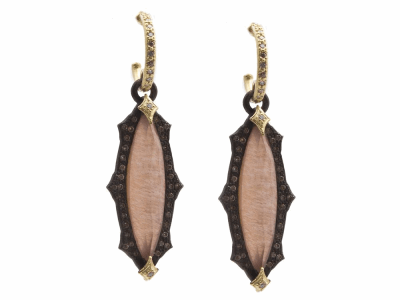 Collection: Old World Style #: 13852 Description: Old World blackened sterling silver/18k yellow gold scalloped 24x6mm marquis Golden Sunstone/Light Brown Pink Gel/White Quartz triplets earring with white and champagne diamonds on diamond huggie. Diamond weight - 0.57 ct.Metal: .925 Sterling Silver/18k Yellow Gold