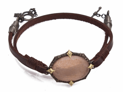 "Collection: Old WorldvStyle #: 13871 Description: Old World blackened sterling silver/18k yellow gold 13""-14"" 23.5x16.5mm oval Golden Sunstone leather wrap bracelet with champagne diamonds. Diamond weight - 0.21 ct.Metal: .925 Sterling Silver/18k Yellow Gold"