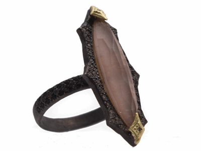 Collection: Old World Style #: 13927 Description: Old World blackened sterling silver/18k yellow gold 24x6mm pointed crivelli marquis ring with Golden Sunstone triplet, champagne diamonds and black sapphires. Diamond weight - 0.15 ct.Metal: .925 Sterling Silver/18k Yellow Gold