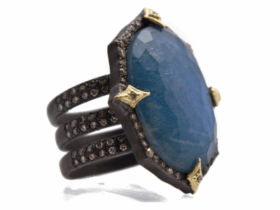 Collection: Old World Style #: 13925 Description: Old World blackened sterling silver/18k yellow gold 23.5x16.5mm oval Green Turquoise/White Quartz doublet triple-band ring with champagne diamonds. Diamond weight - 0.73 ct.Metal: .925 Sterling Silver/18k Yellow Gold