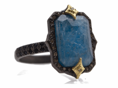 Collection: Old World Style #: 13950 Description: Old World blackened sterling silver/18k yellow gold 13x9 emerald-cut crivelli ring with Blue Quartz/Labradorite/White Quartz triplet, champagne diamonds and black sapphires. Diamond weight - 0.11 ct.Metal: .925 Sterling Silver/18k Yellow Gold