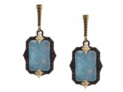 Collection: Old World Style #: 13949 Description: Old World blackened sterling silver/18k yellow gold 13x9mm emerald-cut crivelli drop earring with Blue Quartz/Labradorite/White Quartz triplets and champagne diamonds. Diamond weight - 0.43 ct.Metal: .925 Sterling Silver/18k Yellow Gold