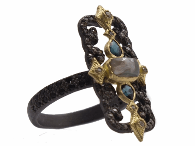 Collection: Old World Style #: 13934 Description: Old World blackened sterling silver/18k yellow gold scrolled rectangle ring with Aquaprase cabochon, blue-green tourmaline, champagne diamonds and black sapphires. Diamond weight - 0.22 ct.Metal: .925 Sterling Silver/18k Yellow Gold