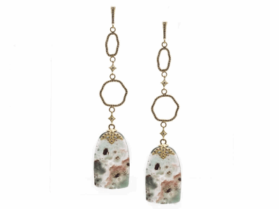 Collection: Old World Style #: 13982 Description: Old World blackened sterling silver/18k yellow gold 33mm Aquaprase slice crivelli oval and circle drop earring with white diamonds. Diamond weight - 0.65 ct.Metal: .925 Sterling Silver/18k Yellow Gold
