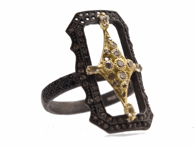 Collection: Old World Style #: 13962 Description: Old World blackened sterling silver/18k yellow gold 25mm scalloped rectangle crivelli ring with champagne diamonds, black sapphires and white sapphire baguettes. Diamond weight - 0.53 ct.Metal: .925 Sterling Silver/18k Yellow Gold