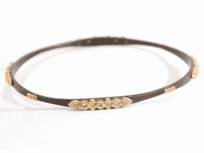 Collection: Old World Style #: 15620 Description: Old World blackened sterling silver(.25cts) bangle bracelet w/ sapphires and champagne diamonds.Metal: .925 Sterling Silver/18k Yellow Gold