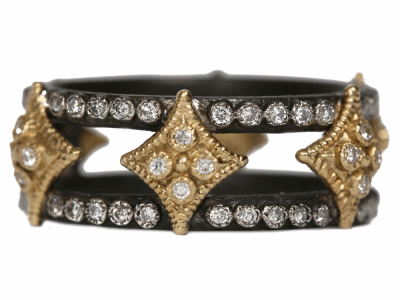 Collection: Old World Style #: 34770 Description: Old World blackened sterling silver double cravelli wide band with white and champagne diamonds.Metal: .925 Sterling Silver/18k Yellow Gold