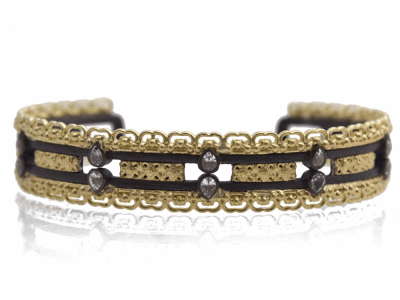 Collection: Old WorldStyle #: 12405Description: Old World blackened sterling silver/18k yellow gold gold-scalloped cuff bracelet with white pear sapphires.