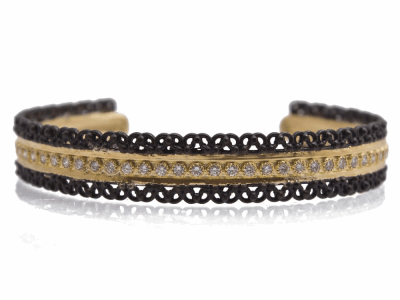 Collection: Old World Style #: 12403 Description: Old World blackened sterling silver/18k yellow gold blackened-scalloped cuff bracelet with 1.7mm white diamonds.