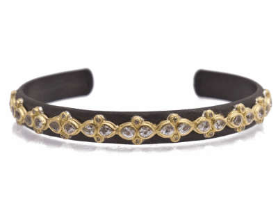 Collection: Old World Style #: 12397 Description: Old World blackened sterling silver/18k yellow gold lacy pear white sapphire and white diamond cuff bracelet.