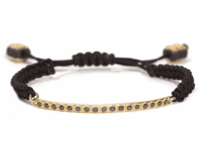 Collection: Old World Style #: 67950 Description: Old World blackened sterling silver/18k yellow gold black sapphires bar bracelet on black braided cord.Metal: .925 Sterling SilverS/18k Yellow Gold