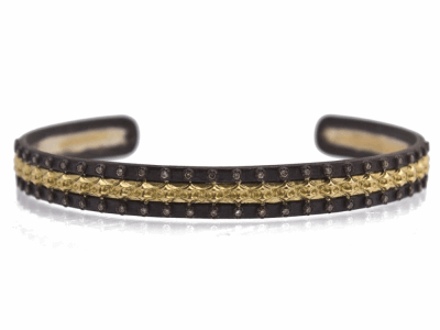 Collection: Old World Style #: 12408 Description: Old World blackened sterling silver/18k yellow gold scalloped cuff bracelet with champagne diamonds.