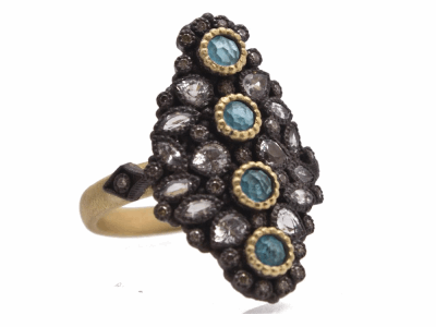 Collection: Old World Style #: 12417 Description: Old World blackened sterling silver/18k yellow gold 25mm cluster ring with 3mm round Neon Apatite/White Quartz doublets, white sapphires and champagne diamonds.