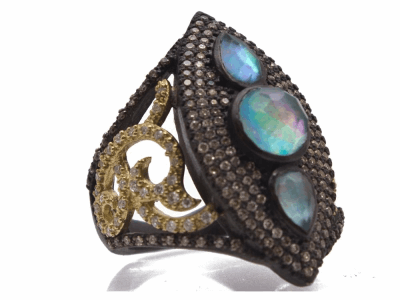 Collection: Old World Style #: 12420 Description: Old World blackened sterling silver/18k yellow gold large marquis ring with Peruvian Opal/White MOP/White Quartz triplets, champagne and white diamonds and white sapphires.