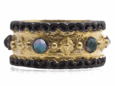 Collection: Old World Style #: 12425 Description: Old World blackened sterling silver/18k yellow gold wide band ring with 3mm Neon Apatite/White Quartz doublets.