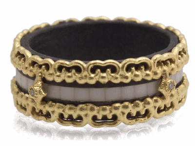 Collection: Old World Style #: 12428 Description: Old World blackened sterling silver/18k yellow gold wide carved White Mosaic band ring with white diamonds.