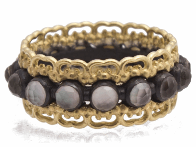 Collection: Old WorldStyle #: 12427Description: Old World blackened sterling silver/18k yellow gold wide carved band ring with 3mm White Mother of Pearl/Light Smoky Quartz doublets.