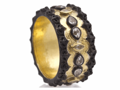 Collection: Old World Style #: 12426 Description: Old World blackened sterling silver/18k yellow gold wide scalloped band ring with pear and marquis white sapphires.