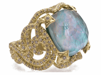 Collection: Old World Style #: 12431 Description: Sueno 18k yellow gold large 16mm cushion swirl ring with Peruvian Opal/White MOP/White Quartz triplet and white diamonds.