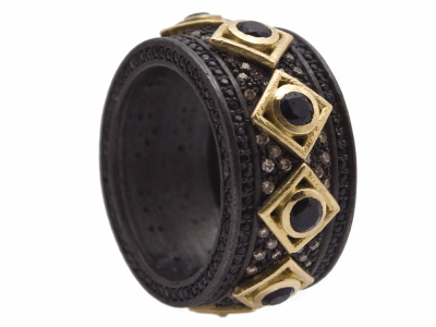 Collection: Old World Style #: 12444 Description: Old World blackened sterling silver/18k yellow gold 3mm black sapphire wide band ring with 1mm black sapphires and champagne diamonds.