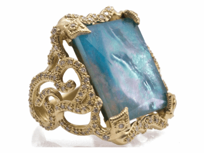 Collection: Old World Style #: 12464 Description: Sueno 18k yellow gold 20x18mm large swirl ring with Peruvian Opal/White MOP/White Quartz triplet and white diamonds.