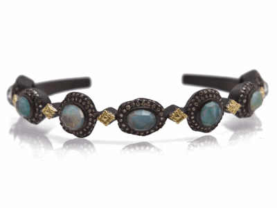 Collection: Old World Style #: 12478 Description: Old World blackened sterling silver/18k yellow gold pave oval and round cuff bracelet with Peruvian Opal/White MOP/White Quartz triplets and champagne diamonds.
