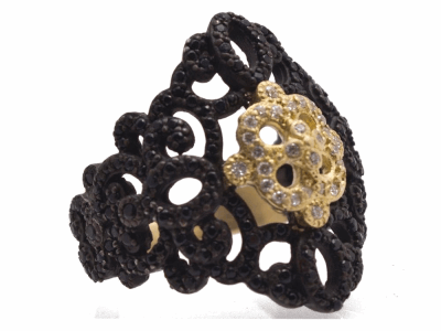 Collection: Old World Style #: 12467 Description: Old World blackened sterling silver/18k yellow gold filigree ring with white diamonds and black sapphires.