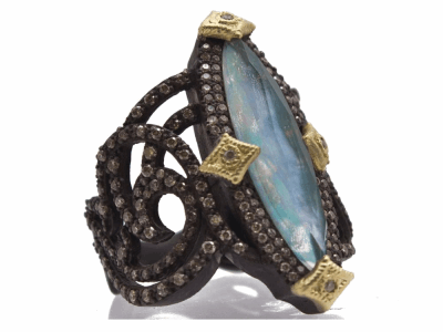Collection: Old World Style #: 12485 Description: Old World blackened sterling silver/18k yellow gold large marquis swirl ring with Peruvian Opal/White MOP/White Quartz triplet and champagne diamonds.