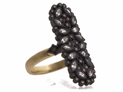 Collection: Old World Style #: 12506 Description: Old World blackened sterling silver/18k yellow gold marquis cluster ring with diamonds and sapphires.