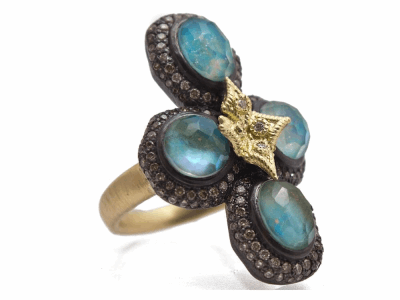 Collection: Old World Style #: 12545 Description: Old World blackened sterling silver/18k yellow gold pave bezel-set flower cross ring with Peruvian Opal/White MOP/White Quartz triplets and champagne and white diamonds.