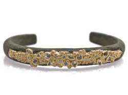 Closeup image for View 18K Yellow Gold Pointed Round Artifact Double-Wrap Leather Bracelet With White Diamonds By Armenta