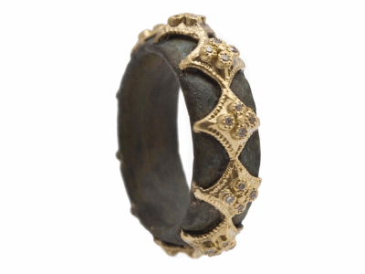 Collection: Old World Style #: 12551 Description: Sueno 18k yellow gold wide crivelli artifact band ring with white diamonds.