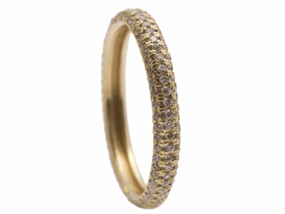 Collection: Old World Style #: 12547 Description: Sueno 18k yellow gold pave band ring with white diamonds.