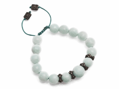 Collection: Old World Style #: 12596 Description: Old World Midnight all-black 10mm Smooth African Amazonite beaded bracelet with champagne diamond crivelli components.