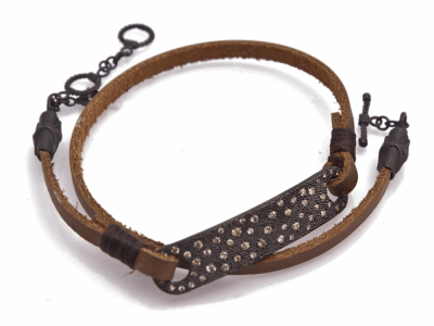 "Collection: Old World Style #: 12594 Description: Old World Midnight all-black 14"" double-wrap horizontal bar leather bracelet with champagne diamonds."