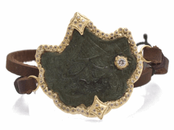 Closeup image for View 18K Yellow Gold 4-Point Artifact Leather-Wrap Bracelet With White Diamonds By Armenta
