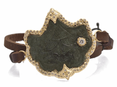Collection: Old World Style #: 12601 Description: Sueno 18k yellow gold fan artifact leather bracelet with white diamonds.