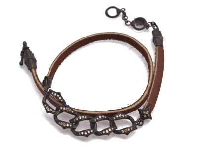 "Collection: Old World Style #: 12772 Description: New World Midnight all-black 13""-14"" pave diamond oval link leather wrap bracelet with champagne diamonds."