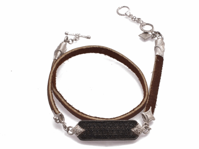 "Collection: Old World Style #: 12771 Description: New World blackened sterling silver/sterling silver 13""-14"" pave diamond bar leather wrap bracelet with champagne diamonds and black sapphires."