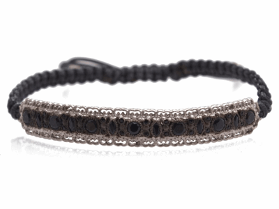 Collection: Old World Style #: 12775 Description: New World blackened sterling silver/sterling silver bar pull bracelet with black sapphires and black spinel on grey cord.