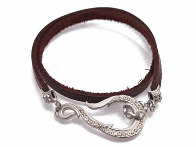 "Collection: Old World Style #: 12773 Description: New World 13.5"" pave hook leather wrap bracelet with champagne diamonds and white sapphires."