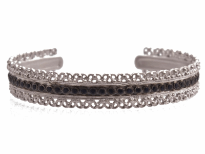 Collection: Old World Style #: 12776 Description: New World blackened sterling silver/sterling silver scalloped cuff bracelet with black sapphires.
