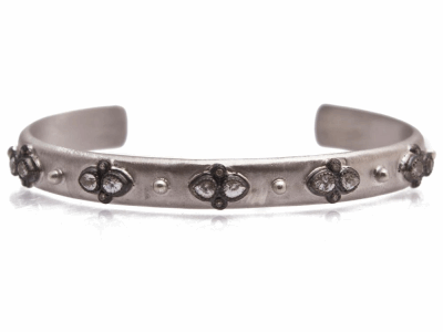 Collection: Old World Style #: 12781 Description: New World blackened sterling silver/sterling silver lacy pear white sapphire and champagne diamond cuff bracelet.